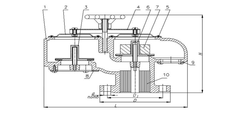 Схема устройства дыхательного механического совмещенного клапана СМДК